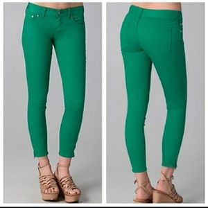 Free People Green Cropped Jeans
